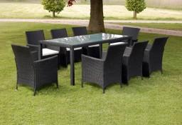 vidaXL 9-cz. zestaw mebli ogrodowych z poduszkami, rattan PE, czarny43118