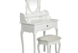 vidaXL Toaletka z lustrem i stołkiem, biała60558
