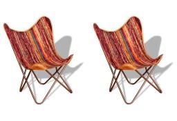 vidaXL Krzesła motyle, 2 szt., wielokolorowe, Chindi, tkanina278750