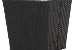 vidaXL Stolik herbaciany, czarny, 41,5x41,5x43 cm, rattan PE i szkło46195