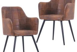 vidaXL Krzesła stołowe, 2 szt., brązowe, sztuczna skóra zamszowa287825