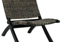 vidaXL Krzesło, czarne, naturalny rattan kubu i lite drewno mahoniowe285802