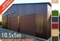Garaż blaszany magazyn lekka hala stalowa z bramą przesuwną