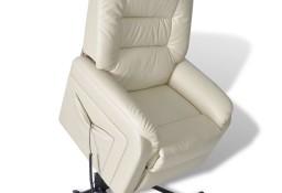 vidaXL Rozkładany fotel telewizyjny, beżowy, sztuczna skóra240871