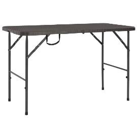 vidaXL Składany stół ogrodowy, brązowy, 120x60x74 cm, HDPE 44553