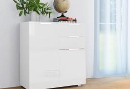 vidaXL Komoda biała na wysoki połysk, 71 x 35 x 76 cm, płyta wiórowa 283715