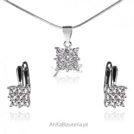 Srebrna biżuteria z cyrkoniamii - piękny komplet