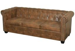 vidaXL Trzyosobowa sofa Chesterfield ze sztucznej skóry, brązowa243620
