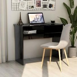 vidaXL Biurko, wysoki połysk, czarne, 90x50x74 cm, płyta wiórowa 801177