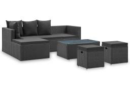vidaXL 4-cz. zestaw wypoczynkowy do ogrodu czarny, poduszki, rattan PE 46105