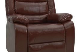 vidaXL Fotel rozkładany, brązowy, sztuczna skóra 288499