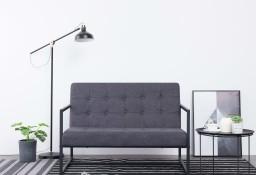 vidaXL 2-osobowa sofa z podłokietnikami, ciemnoszara, stal i tkanina282162