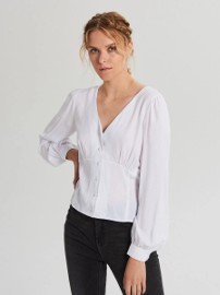 Nowa biała bluzka Cropp M 38 koszula wiskoza retro pin up elegancka guziki