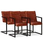 vidaXL Krzesła stołowe, 4 szt., brązowe, skóra naturalna 275238