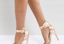 (40) Firmowe, metaliczne sandałki, szpilki, różowe złoto/ NOWE