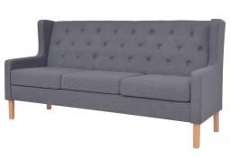 vidaXL 3-osobowa sofa tapicerowana tkaniną, szara245454