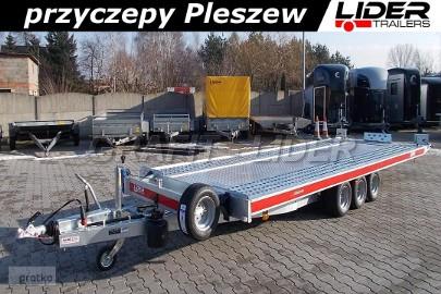 TM-146 przyczepa 580x207cm, laweta płaska, uchylna, kiprowana ręcznie, Carkeeper 5820/3, 3 osiowa, DMC 3500kg Tema