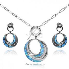 Biżuteria srebrna z opalem - komplet biżuteria srebrna