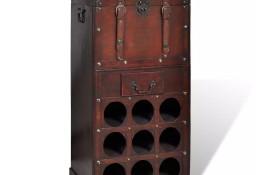 vidaXL Drewniany stojak na 9 butelek z kufrem i szufladą240506