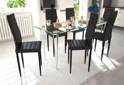 6 wysokich, czarnych krzeseł do jadalni + stół ze szklanym blatem271690