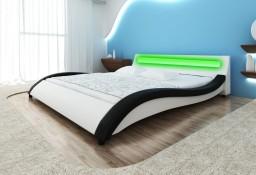 vidaXL Łóżko LED z materacem, biało-czarne, sztuczna skóra, 180 x 200 cm 270726