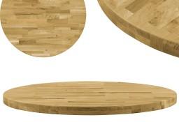 vidaXL Okrągły blat do stolika z litego drewna dębowego, 44 mm, 800 mm245996