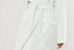(38) ASOS/ Ekskluzywny, długi, biały płaszcz z paskiem/ płaszcz do ślubu/ NOWY