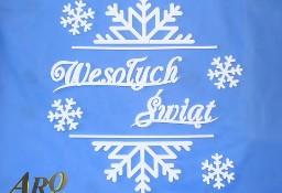 Napis Wesołych Świąt W Śnieżynce - Boże Narodzenie Dekoracje