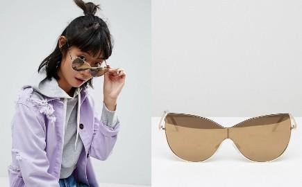 ASOS/Złote lustrzanki, okulary przeciwsłoneczne z Londynu/kocie oczy/ NOWE