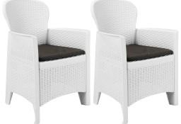vidaXL Krzesła ogrodowe z poduszkami, 2 szt., białe, plastikowe 45598