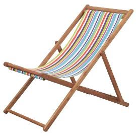 vidaXL Składany leżak plażowy, tkanina, kolorowy 44002