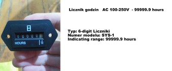 Licznik godzin, kwarcowy AC 100-250V , 99999.9 hours