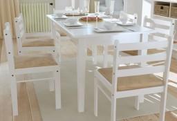 vidaXL Krzesła stołowe, 6 szt., białe, lite drewno i aksamit272092