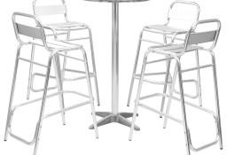 vidaXL Meble barowe z okrągłym stolikiem, 5 szt., srebrne, aluminium 44807