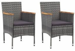 vidaXL Krzesła ogrodowe, 2 szt., polirattan, szare46182