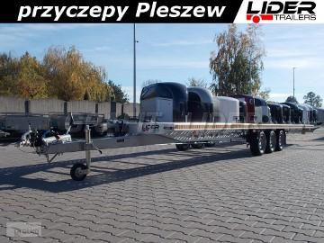 LT-025 przyczepa 850x210cm ALU - STAL, do 2 pojazdów, ciężarowa, laweta prosta, 3 osiowa, wzmacniana, DMC 3500kg