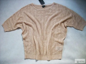 AMISU Sweterek AŻUR Pudrowy Beż NOWY 42 XL