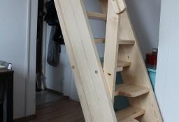 SCHODY KACZE na wysokość 260cm szer.80cm ażurowe młynarskie drewniane z BARIERKĄ