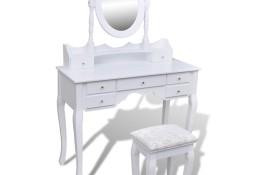 vidaXL Toaletka z lustrem i stołkiem, 7 szuflad, biała241002