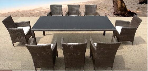Meble ogrodowe Technorattan Fotele 8 osób + stół -Brąz