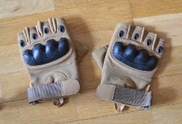Rękawice taktyczne wojskowe militarne piaskowe (tan) bezpalcowe