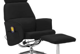 vidaXL Rozkładany fotel masujący z podnóżkiem, czarny, sztuczna skóra289879