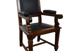 Zabytkowy fotel tron do biurka antyk stary neorenesans skóra naturalna