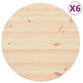 vidaXL Blaty stołu, naturalne drewno, 6 szt., okrągłe, 25 mm, 60 cm 287679