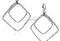 Kolczyki srebrne kwadraty z karbowanymi elementami