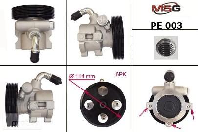 Pompa wspomagania hydraulicznego Citroen Berlingo, Citroen Saxo, Citroen Zx, Peugeot 106, Peugeot 306, Peugeot 405, Peugeot Partner PE003