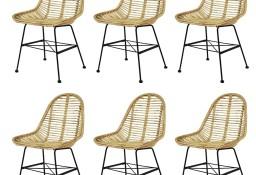 vidaXL Krzesła do jadalni, 6 szt., naturalny rattan275498