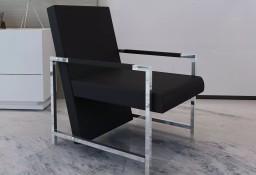 vidaXL Fotel z chromowanymi nóżkami, czarny, sztuczna skóra241006