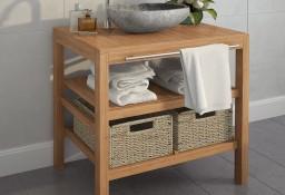 vidaXL Szafka łazienkowa pod umywalkę z 2 koszami, drewno tekowe246494