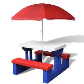 vidaXL Stół dla dzieci z ławkami i parasolem, wielokolorowy 41455